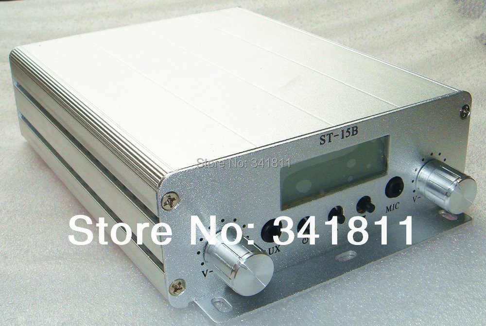 2PCS 1.5W or 15W FM Stereo PLL LCD Broadcast Transmitter ST-15B 87-108MHZ(China (Mainland))