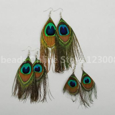 Fashion Peacock Feather Earrings, with Iron Hooks, Colorful, 90mm(China (Mainland))