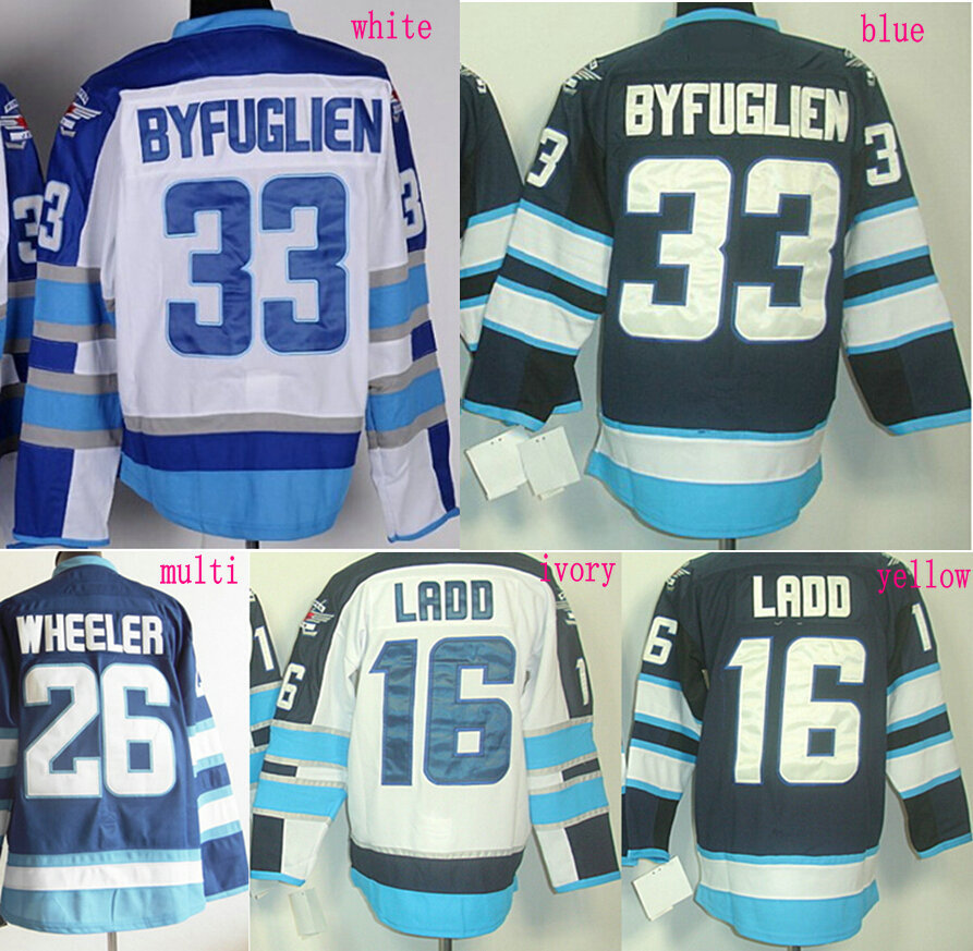 Wholesale Men's Hockey Jerseys #33 Dustin Byfuglien #16 Andrew Ladd #26 Blake Wheeler Jersey Polar Night Blue White Stitched(China (Mainland))