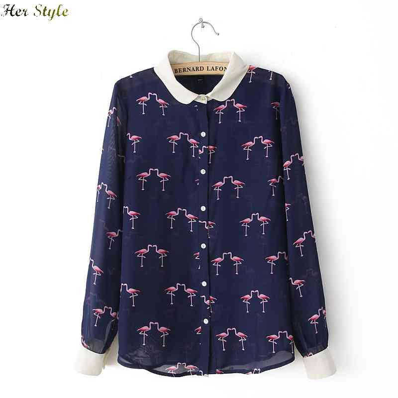 Free Summer Shipping cranes of the new wind love prints chiffon collar long sleeve blouse 1425976747(China (Mainland))