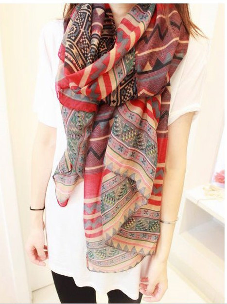 2015 New Fashion Trendy Bohemian Women's Long Print Scarf Wrap Ladies Shawl Girl Large Pretty Scarf Tole 6 Styles Cai0624(China (Mainland))