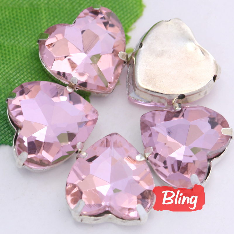 Heart Shape Sew On Rhinestones with Claw Lt.Pink Flatback Setting Glass Crystal Sew Stones For Bags Dresses B0430(China (Mainland))