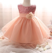 New Infant Party Dress For Baby Girls Flower Girl Wedding Ball Gown Princess Sequins Formal Dress Junior Toddler Girl Clothing(China (Mainland))