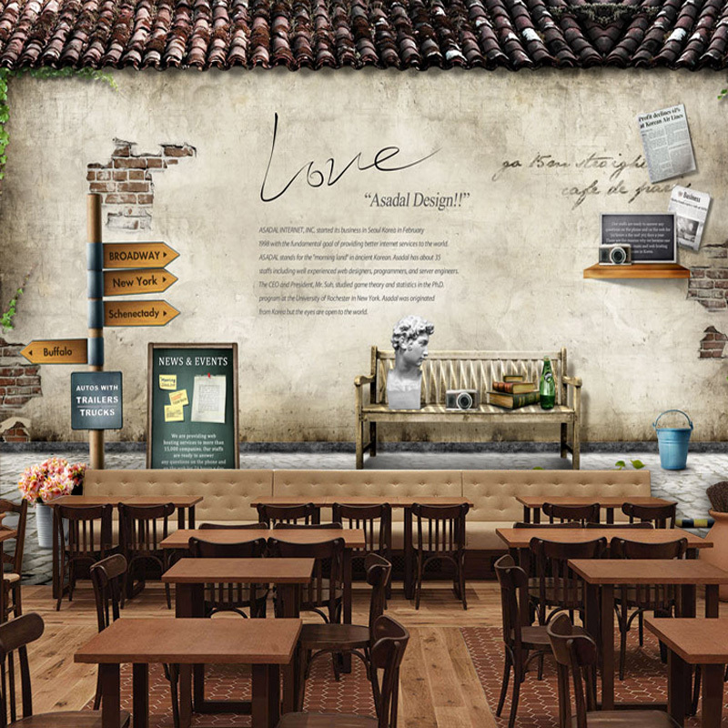 European rural retro nostalgia large mural wallpaper for Coffee shop mural