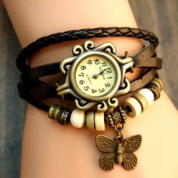 New Hot Fashion Butterfly & Leaf Accessory, Leather Strap watchband Vintage Watch Dress Wrist Bracelet Watch for Women Girls