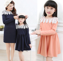 Family Clothes Lace Neck Dress for Mother and Girl/Daughter Women & Girls Dress Fashion Spring/Autumn (Colors: Pink, Navy) FL526