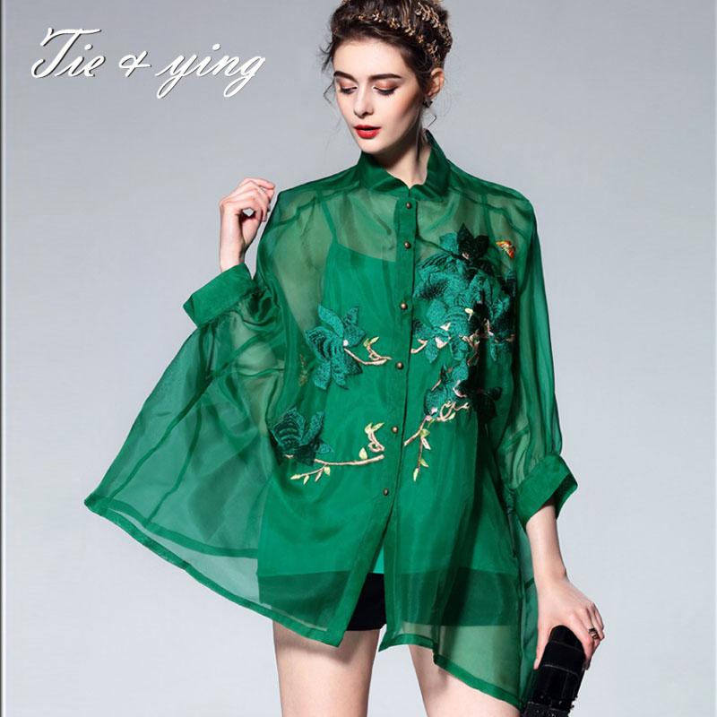 High-end women vintage royal embroidery floral silk blouse shirt 2016 European runway 3/4 sleeve lady organza loose shirt 2XL(China (Mainland))