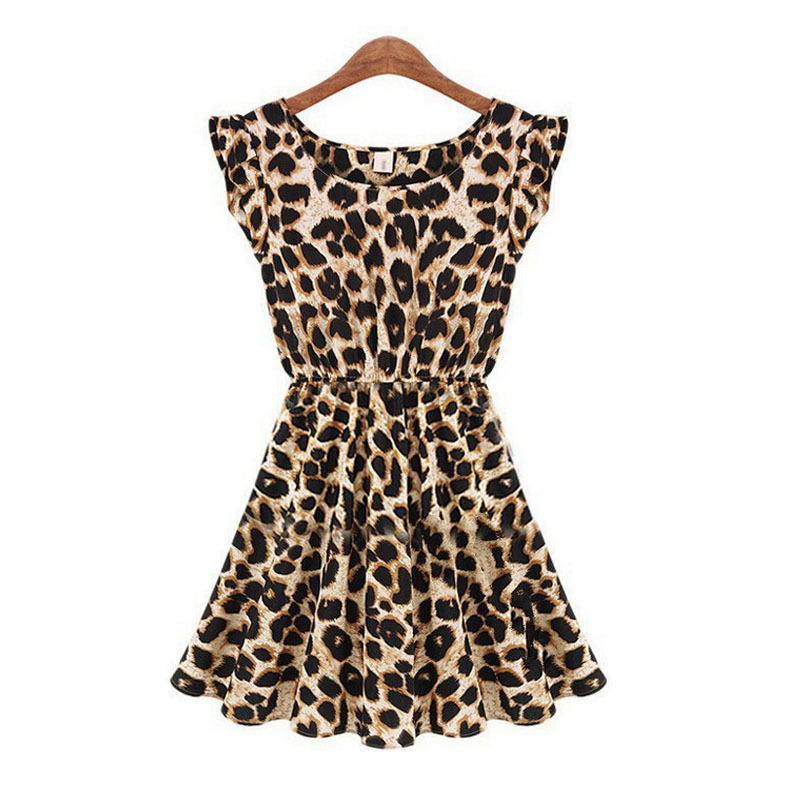 Summer 2015 Fashion Sleeveless O-neck Chiffon Leopard Print Stretch Skater Pleated Tank Mini Dress Women Plus Size S-XL - Nanafast Style Shop store