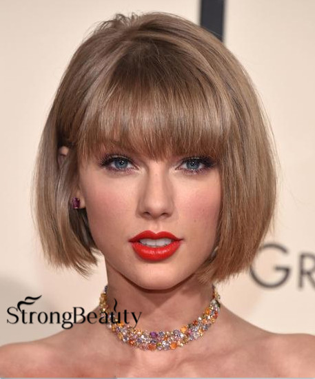 2016 New Taylor Swift Hairstyle Kanekalon High Quality Synthetic Short Blonde BOB Wigs For Sex African Ameraican Woman(China (Mainland))