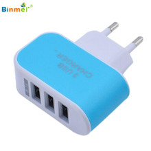 3.1A Triple USB Port Wall Home Travel AC Charger Adapter for S6 EU Plug May18
