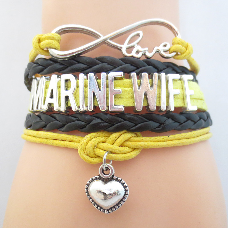 Infinity Love MARINE WIFE Bracelet black YELLOW Customize Wristband friendship Bracelets B09505(China (Mainland))
