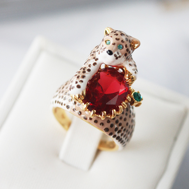 France les nereides leopard gem ring for women luxury noble brand jewelry new arrival high quality<br><br>Aliexpress