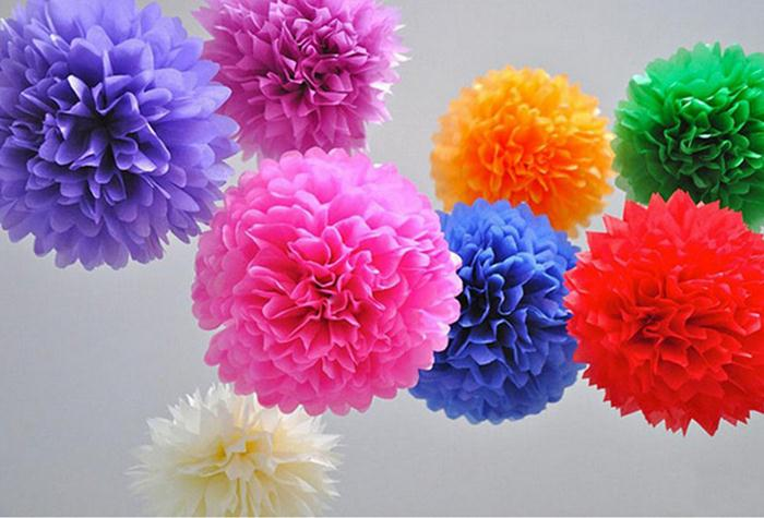 30cm=12inch Handmade Colors Paper Flowers Ball Pom Poms Wedding Home Decoration - Commodity little's store