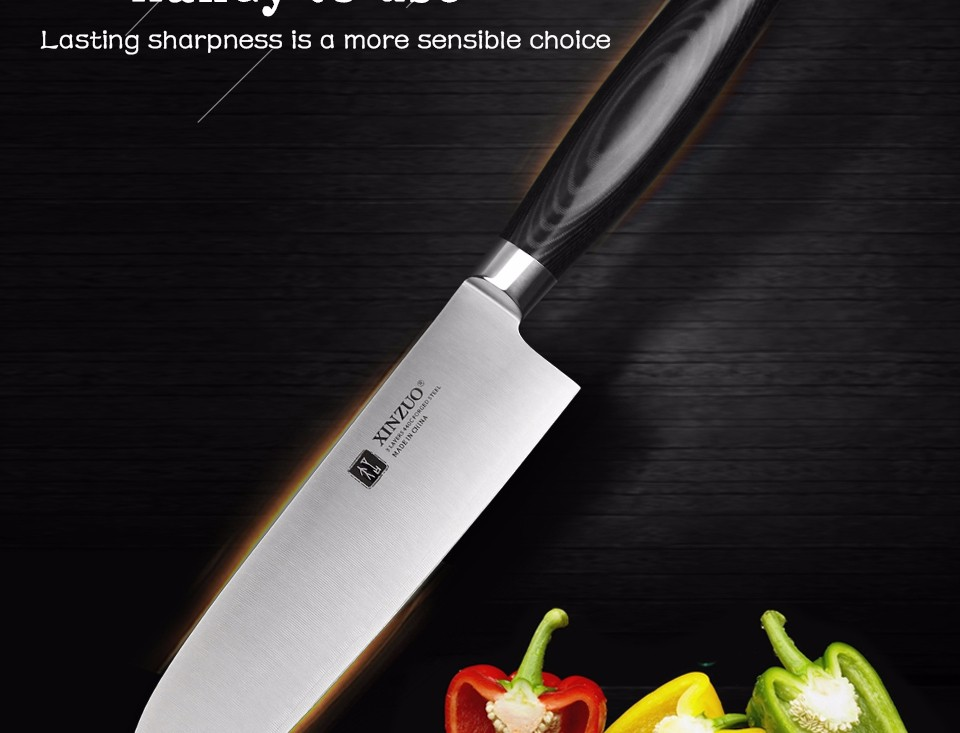 Buy XINZUO 7 inch santoku knife three layers 440C clad steel kitchen knife very sharp Japanese chef knife kitchen tool free shipping cheap