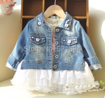 new 2014 high quality girls pearl jeans spring-autumn jacket girls clothing kids apparel infant jeans coat outfit(China (Mainland))