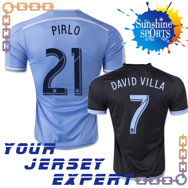 NYCFC Jersey Andrea Pirlo 2015 New York City FC 2016 DAVID VILLA LAMPARD MIX DISKERUD IRAOLA Football Shirt Home Blue Away Black(China (Mainland))