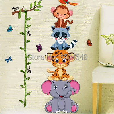 2015 New Cartoon kids Wall stickers small animal cartoon child height stickers height wall decals vinyl stickers home decor(China (Mainland))