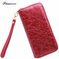 Flowers Wallet Luxury Card Holder Women Wallets Purse PU Leather Long Burgundy Wallet Floral Zipper Clutch