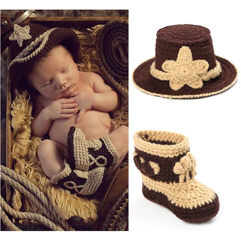 Crochet Baby Cowboy Hat and Boots Set in Brown Newborn Boy ...
