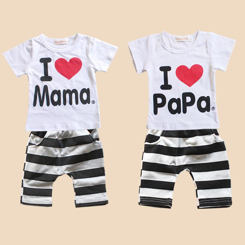 Retail 1set! 2014 Children Clothing Summer Set boys girls I Love Papa and Mama short sleeve t-shirt+pants suit kids pajamas set(China (Mainland))
