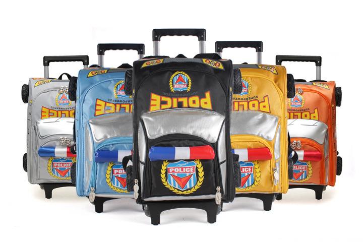 2015 Cool 3D Police Car Models Rolling Trolley Backpack Primary School Children Kids Wheel Bag