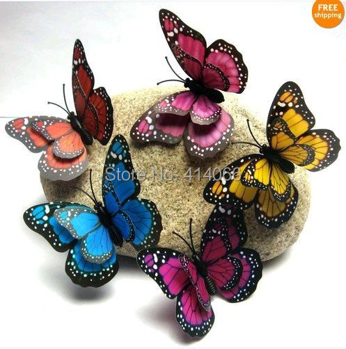 Hot& wholesale free shipping 12 pcs 3D wall stickers butterfly fridge magnet wedding decoration home decor(China (Mainland))