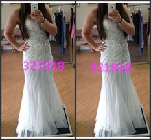 Sweetheart Mermaid Dress White Long Prom Dresses with Sparkle Crystals and Beaded Custom Made New Arrival