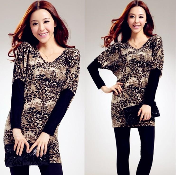 Sexy Leopard Shirt Dress Women 2014 Korean Spring Batwing Loose Ladies Casual free shipping(China (Mainland))