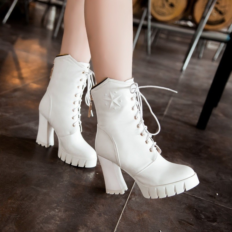 lacing heeled chelsea boots 2015 Black autumn winter fashion extreme high heels After the zipper Comfort Leisure chelsea boots
