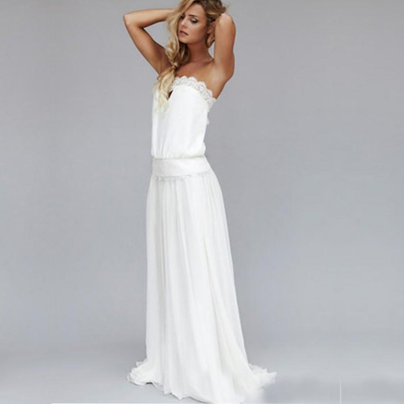 2016 strapless backless boho beach wedding dresses a line for Backless boho wedding dress