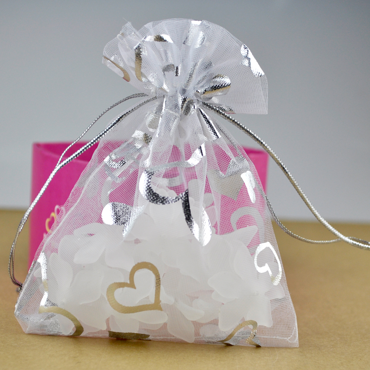 Wholesale 1000pcs/lot 9x12cm White Organza Bag Boutique Jewelry Packaging Bags Heart Design Organza Gift Bags Drawstring Pouch(China (Mainland))