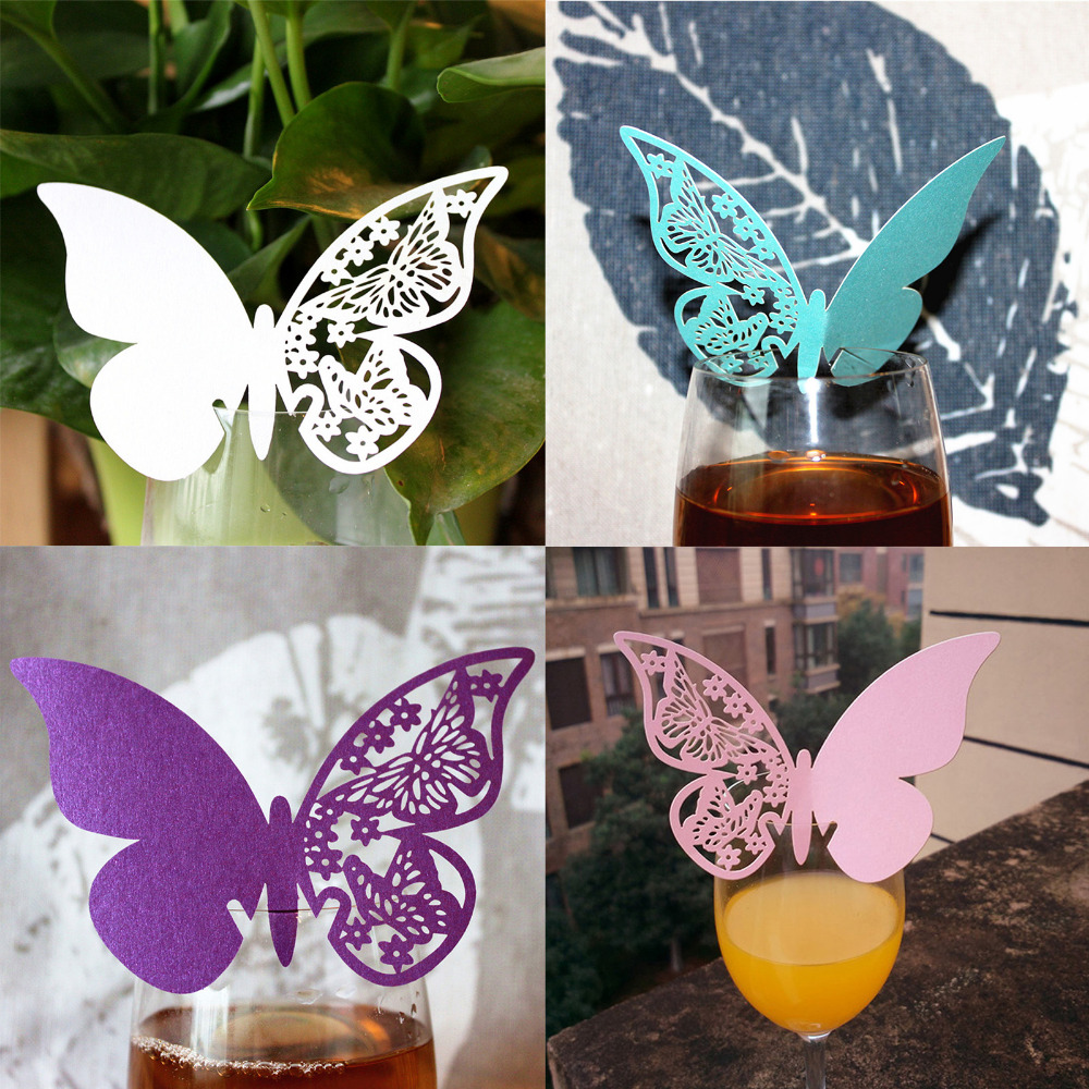New 50pcs Butterfly Place Escort Wine Glass Cup Paper Card for Wedding Party Home Decorations White Blue Pink Purple Name Cards(China (Mainland))