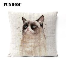 watercolor cat linen pillow cushions throw pillow