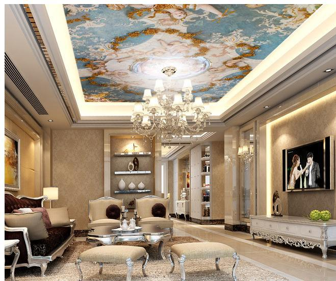 Wall paper cute angel figure zenith ceiling mural for Ceiling mural wallpaper