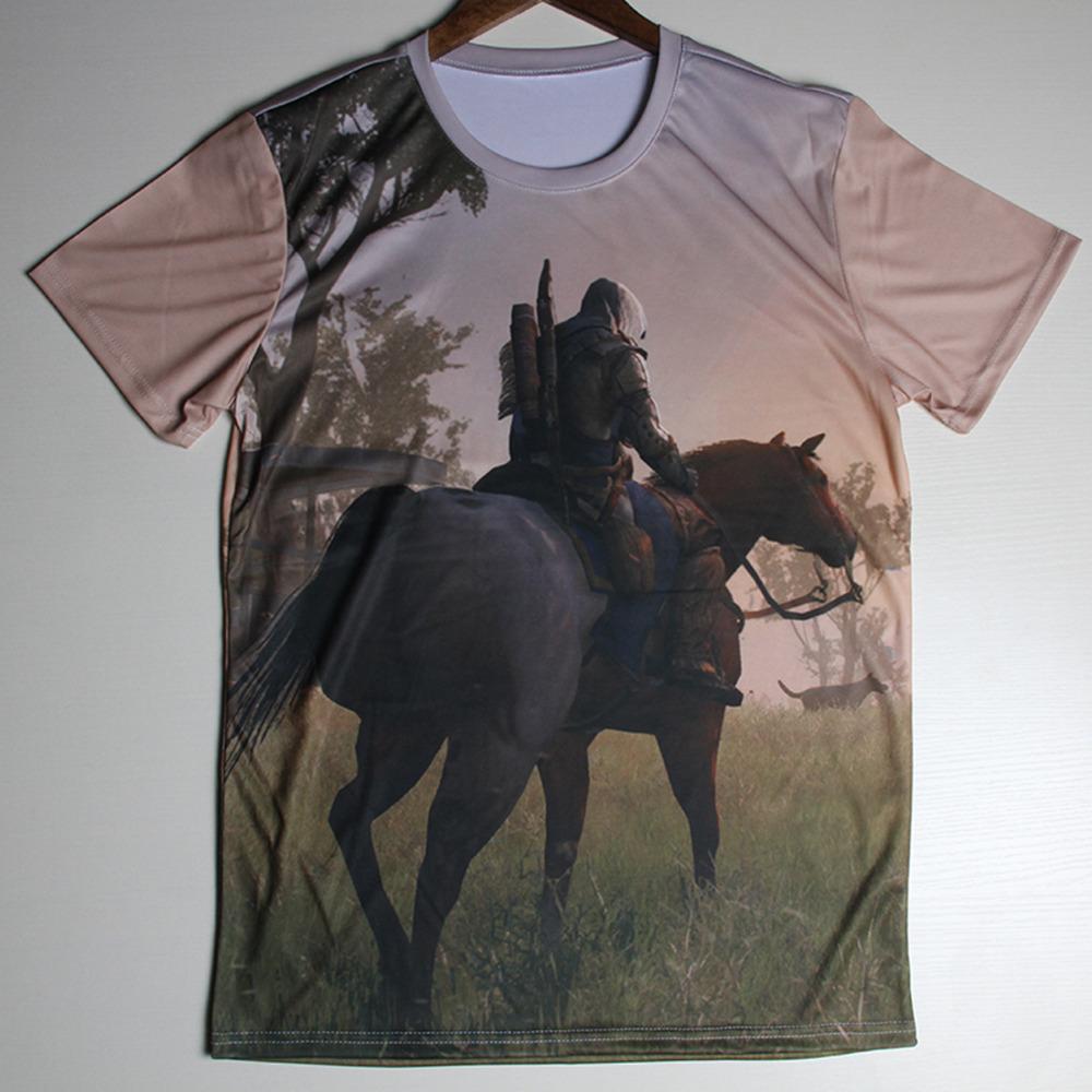Hot Sale Dark Souls White Wolf Design Printing Short Sleeve T-shirts Leisure Round Collar Men Tshirts Camisetas Fashion T Shirts(China (Mainland))