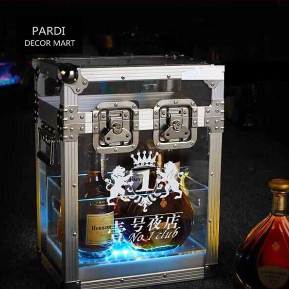 2016 NEW Small size RGB Flashing LED bottle display LED bottle cabinet LED bottle suitcase for bars night club promotion(China (Mainland))