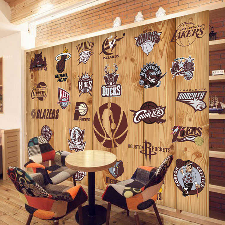 Wholesale nba basketball team logo 3d wall photo mural for Basketball mural wallpaper