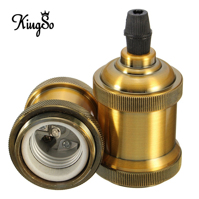 Kingso Incandescent Bulbs Vintage Retro Antique Edison E26/E27 Brass Copper Keyless Lamp Light Bulb Holder Socket 110V-250V(China (Mainland))