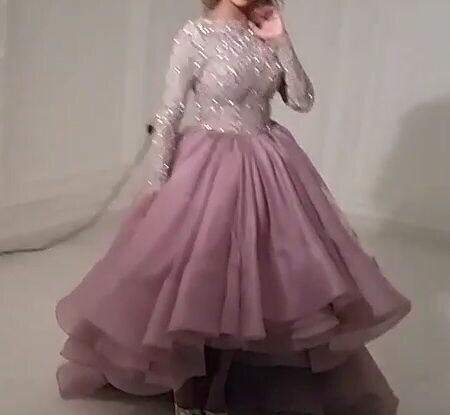 Saudi Arab Arabic Dress Ball Gown Long Sleeve Evening Organza 2015 Prom Dresses Party Scoop Asymmetrical - Weddings & Events Collection store
