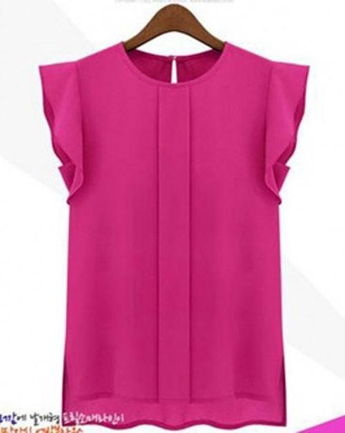2015 Women Feminina Fashion Sleeveless Chiffon Tops Camisetas Camisa Female Blouse Shirt shirts Blusa Roupas Tops Blusinhas Q453