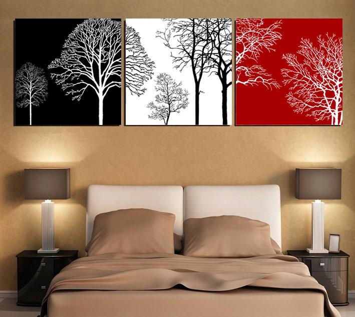 Red black white wall art for Black wall art