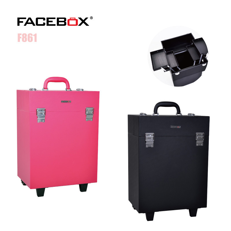 Facebox Trolley Makeup Case Beauty Box with wheels Professional makeup box Black and pink color Standard and Univeral Wheel(China (Mainland))