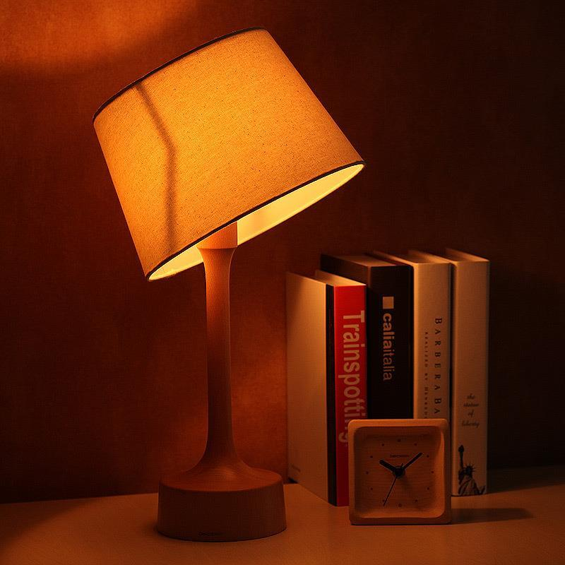 solid wood logs creative retro wooden table lamp bedroom bedside lamp dimmer upscale minimalist genuine(China (Mainland))