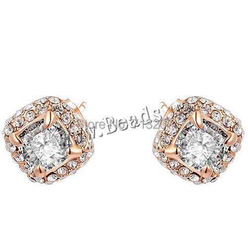 Здесь можно купить  Free shipping!!!Austria Crystal Earring,Lucky, Zinc Alloy, with Austrian Crystal, brass post pin, Rhombus  Ювелирные изделия и часы
