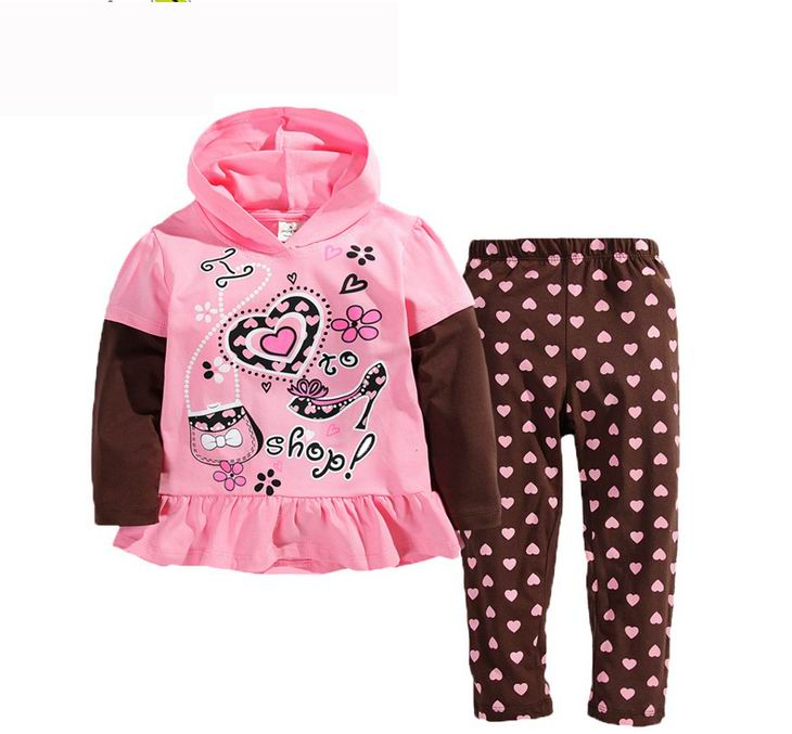 2016 Spring Girl sets Go shop Polka Dot Long Sleeve 2 Piece Children Outfits Kids Clothing 2-7Y 2820