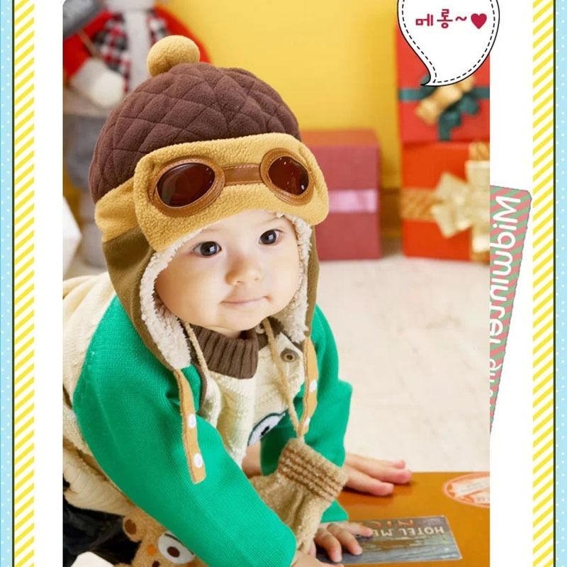 Зима Детские Малыш Мальчик в Девочке Дети Пилот Авиатор Теплую Шапку Hat Beanie Коричневый Черный