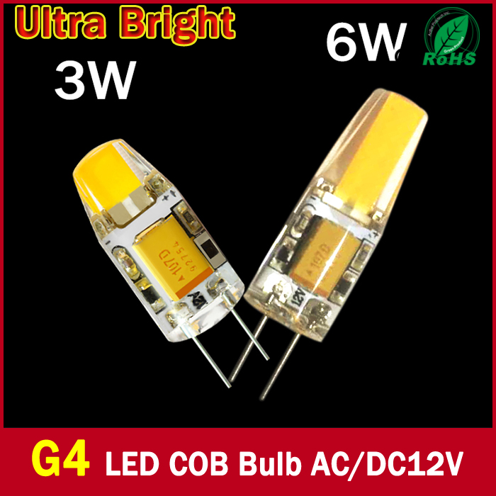 super bright g4 led 12v lamp dc ac 12v cob led bulb light 3w 6w replace halogen lamp 360 beam. Black Bedroom Furniture Sets. Home Design Ideas