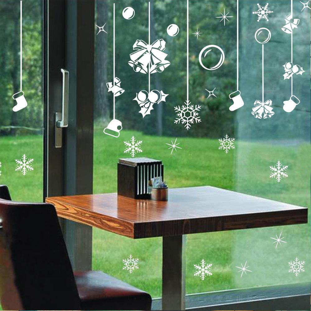 Decoração de natal sino luvas meias adesivos floco de neve luz da janela de vidro decorativo adesivos de parede xmas49(China (Mainland))