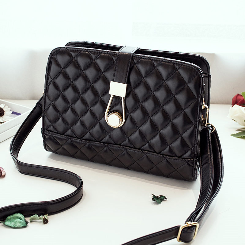 Hot Sale High Quality PU Leather Handbag Embroidery Plaid Crossbody Bag For Women Small Women Clutches(China (Mainland))