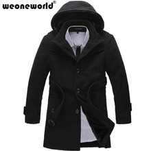WEONEWORLD 2016 Thicken Men Trench Coat Jacket Winter Warm Long Outerwear Casual Men Jacket  With Big Size S-4XL Men Overcoat(China (Mainland))